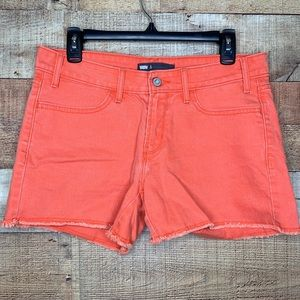 Levi's | Orange Raw Hem Denim Shorts 8